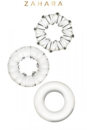3 Cockrings Strech Rings Clear - Zahara