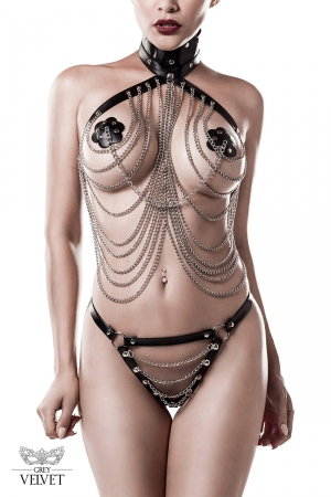 Lingerie SM cuir et chaînes 3 pièces - Grey Velvet