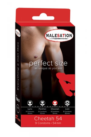 9 Préservatifs Perfect Size Cheetah 54
