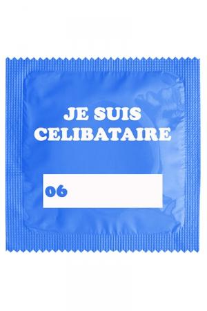 Préservatif humour - Je Suis Célibataire Bleu